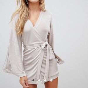 Misguided silky plunge neck midi dress in silver.